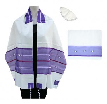 Ronit Gur Purple-Rose Silk Tallit Set