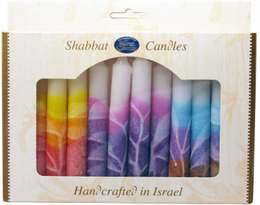 Safed Shabbat Candles - White Dripless Candes with Mix of 3 Colors