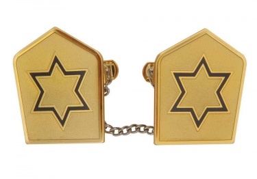 Navy Jewish Star on Gold Tallit Clips