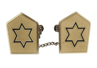 Navy Jewish Star on Silver Tallit Clips