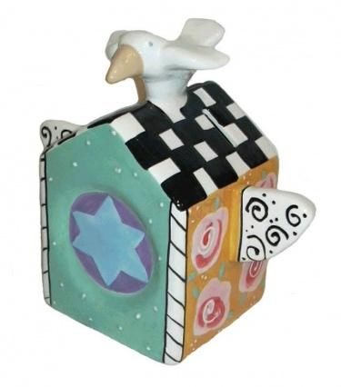 Bird on House Tzedakah Box by Joanne Delomba